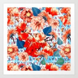 Geometric Flowers and Bees Art Print