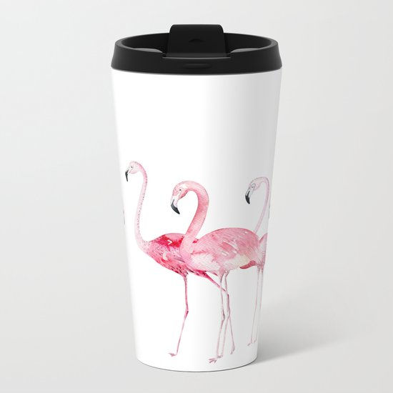 Flamingo Farm- Tropical Animal Bird World Metal Travel Mug