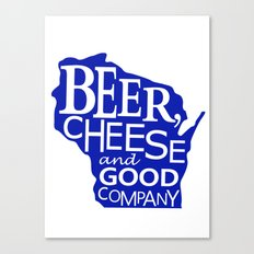 Blue and White Beer, Cheese and Good Company Wisconsin Graphic Canvas Print