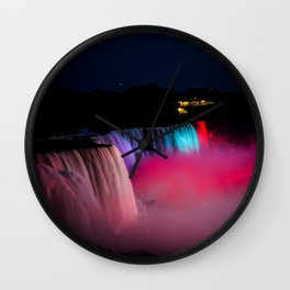 Niagara Falls Illumination Pink Wall Clock