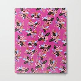 Magenta Floral Patern Metal Print