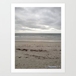 Cloudy Waters on the Sand Art Print