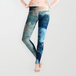 013.3: a bright contemporary abstract piece in southwestern blues and peach by Alyssa Hamilton Art  Leggings