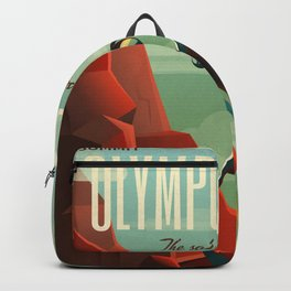 Mars Retro Space Travel Poster Backpack