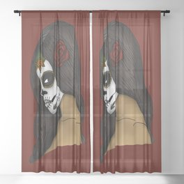 The Day Of The Dead Girl Sheer Curtain