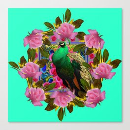GREEN PEACOCK &  PINK ROSE GARDEN TURQUOISE ART Canvas Print