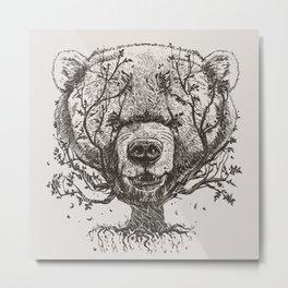 Bear n Tree Metal Print