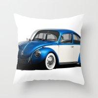 volkswagen Throw Pillows featuring Volkswagen Beetle by cjsphotos