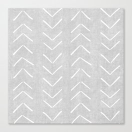 Mudcloth Big Arrows in Grey Canvas Print
