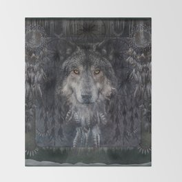 The Winter is here - Wolf Dreamcatcher Throw Blanket