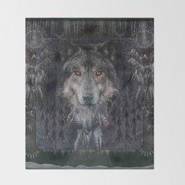 Winter mode - Wolf Dreamcatcher Throw Blanket