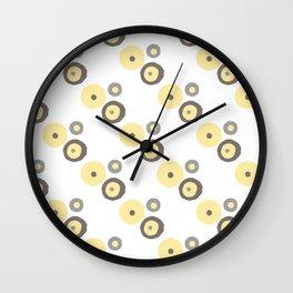 Yellow, Grey and Dark Taupe Pattern 3 Wall Clock