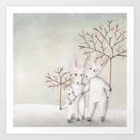 bunnies Art Prints featuring Bunnies by Arianna Usai