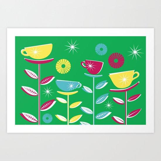 Teacups - Green Art Print