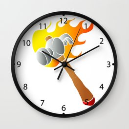 Hammer in flames Wall Clock