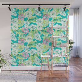 Whimsical Preppy Blue and Pink Floral Pattern Wall Mural
