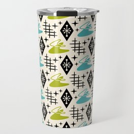 Mid Century Modern Boomerang Abstract Pattern Chartreuse and Turquoise 161 Travel Mug