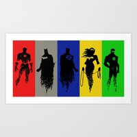 justice league Art Prints featuring Justice Silhouettes by iankingart