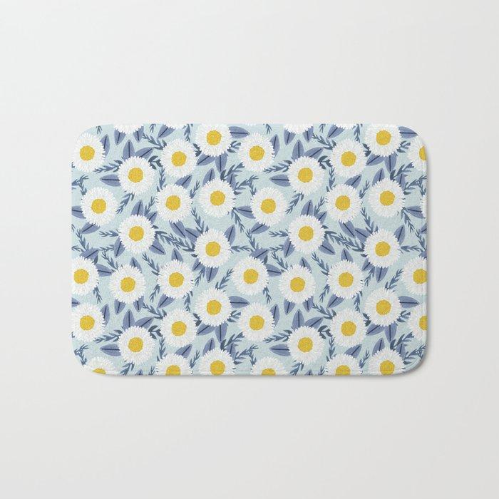 daisy flower white blue navy gold watercolor painting bohemian gardener gift unique floral pattern Bath Mat