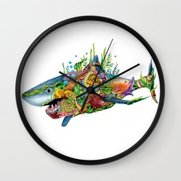 Colored Sea Shark Wall Clock