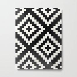 Urban Tribal Pattern No.17 - Aztec - Black and White Concrete Metal Print