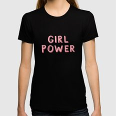 Girl Power Black MEDIUM Womens Fitted Tee