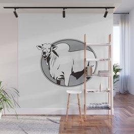 Bull zebu vintage logo Wall Mural