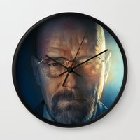 walter white Wall Clocks featuring Walter White by turksworks