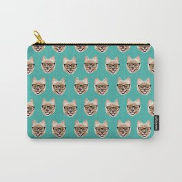 Pomeranian dog breed hipster glasses intellectual dog lover with personality Carry-All Pouch