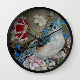 Blue Titmouse and Bee with floral still life Wall Clock