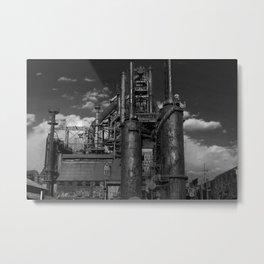 Black and White Bethlehem Steel Blast Furnaces Metal Print