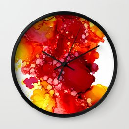 Red & yellow abstract ink art Wall Clock