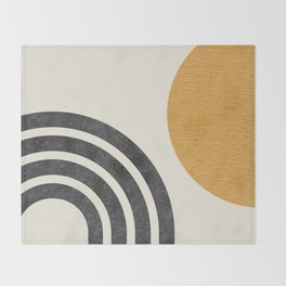 Mid century modern Sun & Rainbow Throw Blanket