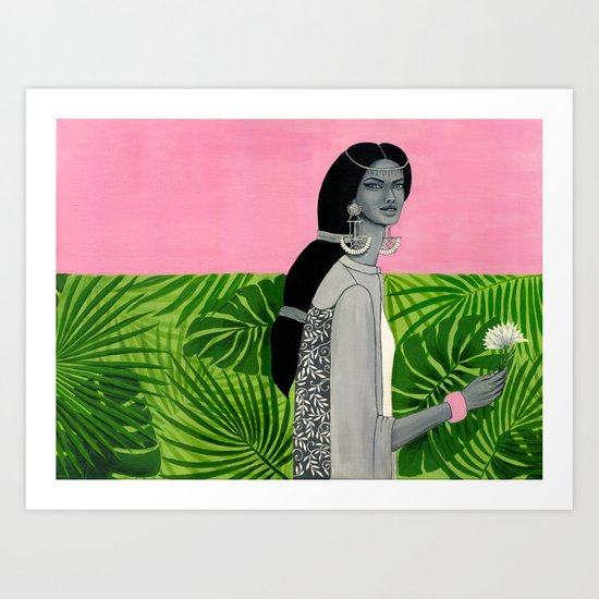 girl with a flower Art Print