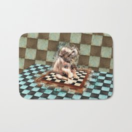 Baby Elephant on the chessboard digital art Bath Mat