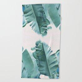 Blue Tropical Banana Leaf Plant Beach Towel