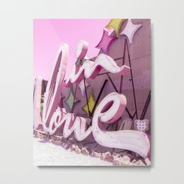 "Pink ""In Love"" Sign at the Neon Museum in Las Vegas, Nevada Metal Print"