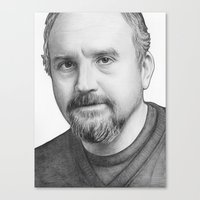 louis ck Canvas Prints featuring Louis CK by Olechka