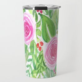 Spring Floral Pink Roses Green Leaves Watercolor Travel Mug