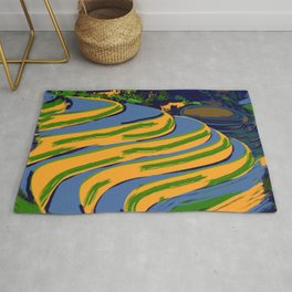 Abstract China Rice Fields Rug
