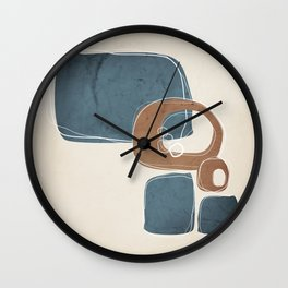 Retro Abstract Design in Cinnamon and Teal Wall Clock