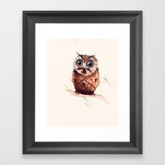Owl in the snow Framed Art Print