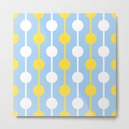 Sun Rain & Blue Sky Droplets Pattern - Yellow Blue White Metal Print
