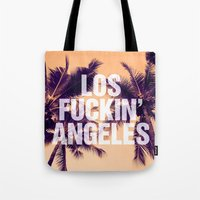 los angeles Tote Bags featuring Los Angeles by Text Guy