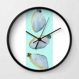 Three Clams Aqua Wall Clock