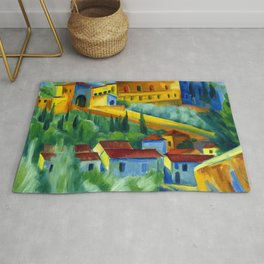 Charterhouse of Florence & Italian Village landscape painting by Hermann Max Pechstein Rug