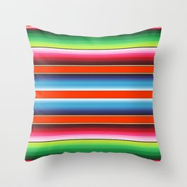 Red Green Blue Mexican Serape Blanket Stripes Throw Pillow