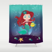 ariel Shower Curtains featuring Ariel by Loud & Quiet