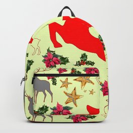 DECORATIVE LEAPING RED DEER  & HOLY BERRIES CHRISTMAS  ART Backpack