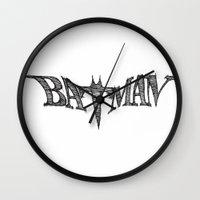 bat Wall Clocks featuring Bat by Vickn